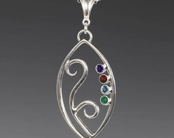 Mother's / Grandmother's Necklace. 4 Birthstones. Filigree Pendant. Sterling Silver. Lab-Created Gemstones.