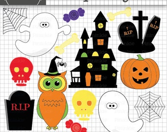 Halloween Clipart, Halloween Clip Art, Ghosts, Owl, Skulls, Pumpkin, Haunted House, Grave Stones, Commercial Use, Instant Downl
