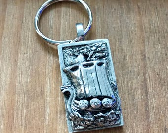 Viking Longboat Keyring, Pewter Gift for History Lovers, Historical Norse Ship Keychain, Sea, Handmade by Mucky Duck Studio