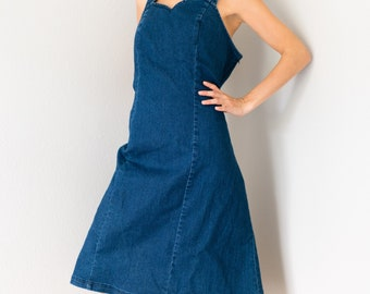 Vintage Y2K Dark Wash Midi Knee Length Sweetheart Neckline Stretchy Denim Jean Dress Size 12 Large L!