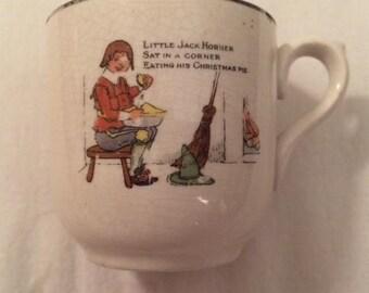 Vintage Antique Little Jack Horner Porcelain Childs Storybook Nursery Rhyme Cup