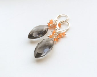 Grey Quartz Orange crneool/cornalijn 925 sterling silver earrings/Earrings anthracite facet cut bridal earrings,