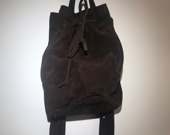 Recycled suede drawstring backpack / up cycled leather /leather backpack