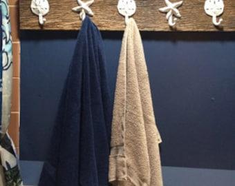 farmhouse coastal barn wood towel rack as seen on best-deal.com bath towel holder rack foyer jacket mudroom outdoor shower hot tub beach obx
