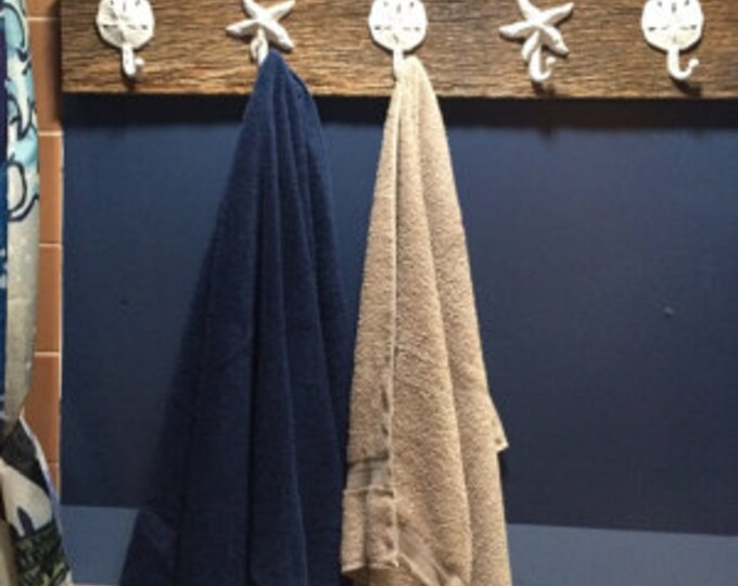 farmhouse coastal barn wood towel rack as seen on best-deal.com bath towel holder rack foyer jacket mudroom outdoor shower hot tub beach obx