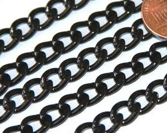 100 ft of Aluminum Curb open link chain  7X10mm - Black color