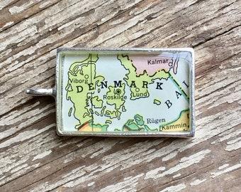 Denmark Map Pendant, Denmark Travel Gift, Danes Silver Map Pendant