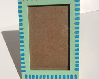 Hand Painted Picture Frame - Blue and Green