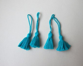 set of 4 turquoise blue tassels with cotton fringe