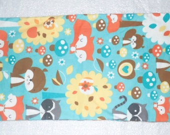 Neck Flaxseed Heating Pad,  Shoulder Cold Pack, Flax Seed Bag, Woodland Animals, Fox, Squirrel, Raccoon
