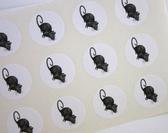 Mouse Rat Stickers One Inch Round Seals
