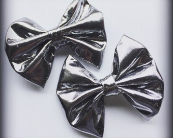 Silver Metallic Holiday / Christmas Hair Bow Set of 2