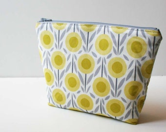 Floral Makeup Bag - Grey and Yellow Flowers Cosmetic Pouch - Purse Organizer - READY TO SHIP