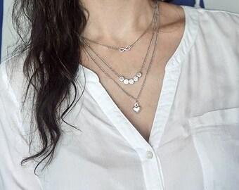 Necklace Trio, Pendant infinity, happy, heart pendant, silver chain, chain trio, multiple chains, letter chain, necklace pendant infinity