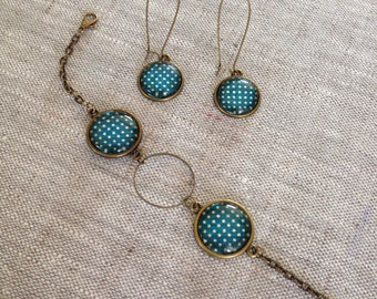 Bracelet and bronze cabochon earrings - green duck with polka dots - set