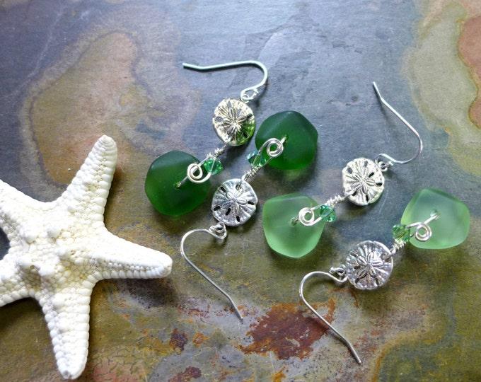 Green Sea Glass Sand dollar Earrings in Sterling Silver, Green Sea Glass Sand dollar Earrings, Beach Weddings,Sand dollar Charm Earrings