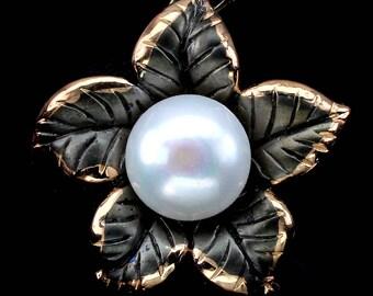 Edwardian Naturalism 14k Black and Rose Gold Vermeil Freshwater Pearl Botanical Flower Pendant Necklace & Dropper Earrings: Truly Venusian