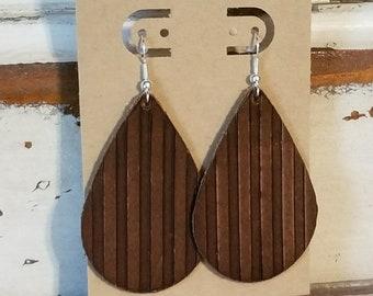 Leather Earrings, Leather Jewelry, Natural Brown, Embossed, Stripes, Western, Tear Drop, Statement Earrings, Lightweight