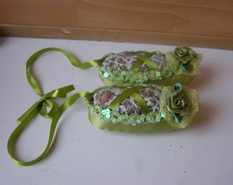 ballerina Pointe shoes, sachets of herbs, pointes from textile for decoration