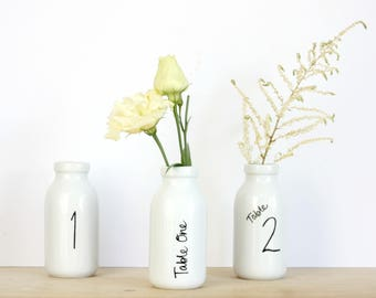 Personalised wedding table number bottle - wedding table number - wedding table centrepiece - wedding flowers - table number