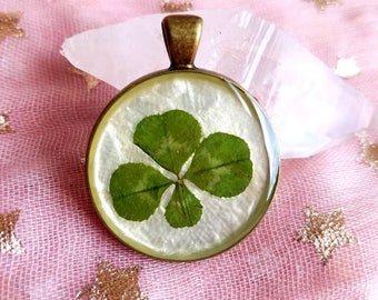 Real four leaf clover pendant/charm  found in nature #83