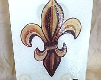 Fleur de Lis Cutting Board - Brown Cutting Board - Nola Cutting Board - New Orleans Gift - Serving Tray - Home Decor - New Orleans Decor