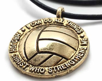 Gold Volleyball Necklace