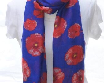 Royal blue poppy Scarf shawl, Beach Wrap, Cowl Scarf, blue poppy print scarf, cotton scarf, gifts for her
