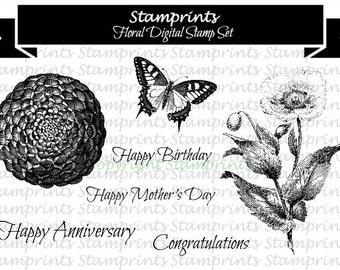 Digital Stamp Set - Floral (by Stamprints).Printable Vintage Images. Coloring Art.Sentiments