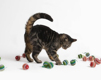 Cat toy with bell felted set of two