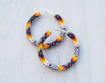 Native American Earrings - Native Hutsul earrings - Aztec Inca earrings - Traditional Tribal beadwork - Gypsy earrings - Boho Hippie Hoops