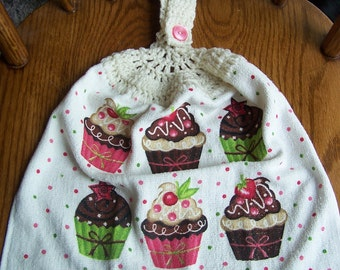 Cupcake Crocheted Kitchen Towel