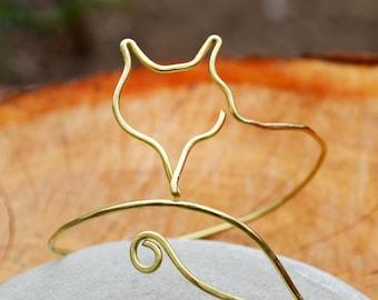 Gold Fox Bracelet Woodland Open Bangle Arm Cuff Upper Arm Bracelet Jewelry Handmade