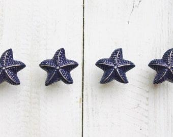 Starfish Knobs, Nautical Beach Decor , Cabinet Knobs Drawer Pulls,Dresser Drawer Knob In NAVY BLUE,Nautical Nursery,Boys Room,Bathroom Decor