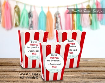 Stickers Popcorn Box Wedding Engagement Recception Bridal Shower Party Labels Popped the Question Digital Printable