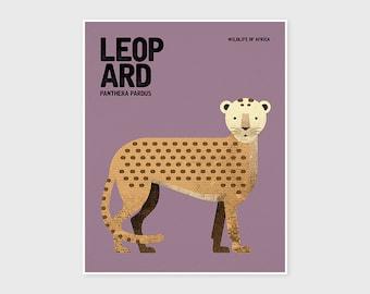 LEOPARD, Safari Nursery Wall Art, Wildlife of Africa Big Five, Whimsical Animal Nursery Art Print, Kids Room Poster, Fun Nursery Wall Decor