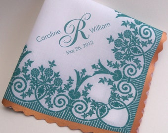 Personalized wedding handkerchief with printed lace, teal and copper wedding, customized wedding favor, personalize hankerchief