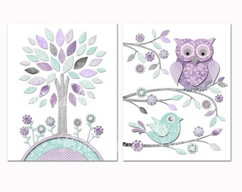 Nursery art toddler room decor Baby girl wall artwork for kids mint purple owl baby shower decoration gift playroom poster pastel print