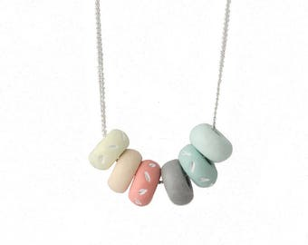 Pastel Necklace - Small Bead Necklace - Multi Color Necklace - Silver Plated Necklace - Colorful Necklace - Simple Necklace - Gifts for Her