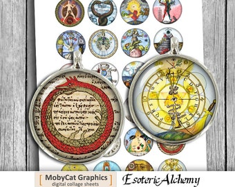 Esoteric Alchemy 20mm 1 inch 30mm 1.5 inch for Cabochons Bottle Caps Alchemy Symbols Digital Collage Sheet Instant Download