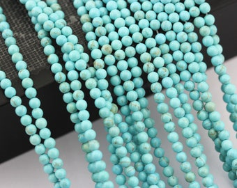 Smooth Blue Turquoise Round Loose Beads Size 3mm Approxi 15.5'' Long. R-S-TUR-0481