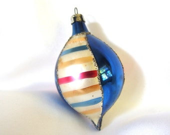 Vintage Christmas Ornament, Blue and Striped Poland Teardrop Ornament