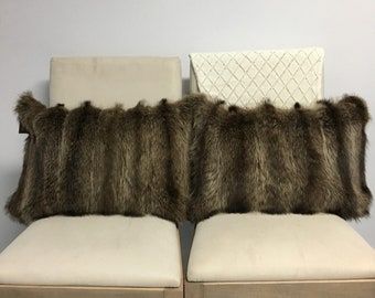 """Cushion cover 13 x 20 """"recycled raccoon fur and wool."""