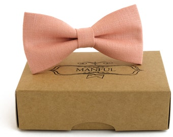 Pink  bow tie, wedding necktie, linen necktie,  groomsmen necktie,  pink necktie, pink bow tie for men