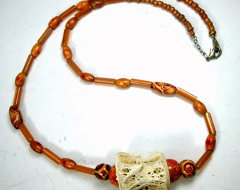 SALE, Ceramic Beads w Vertebrae Focal Bead Necklace, 1980s, OOAK R Starr, Caramel Brown and off White