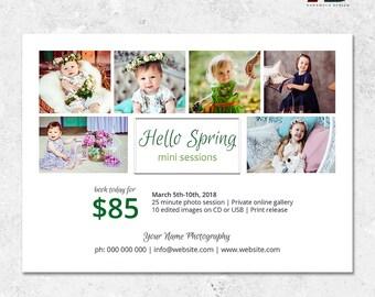 Spring Minis Template - Newborn Mini Session - Spring Mini Sessions Template - Photography Template - Easter Mini Sessions - Marketing Board