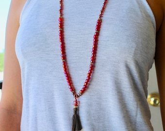 Iridescent Red and Gold Tassel Necklace - Long Beaded Necklace, Tassel Necklace, Handmade Jewelry, Red Necklace, Tassel Jewelry