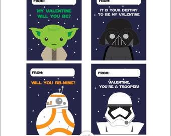 Printable Star Wars Valentine Cards // Digital // Valentine's Day Cards // Instant Download // Printable