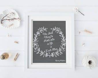 Wedding decoration ideas, rustic wedding centrepieces, rustic wedding ideas, Audrey Hepburn quote, The best thing to hold onto, chalkboard