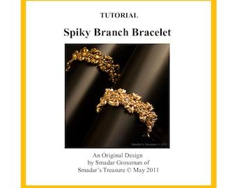 Beading Tutorial, Spiky Branch Bracelet, Pattern with Miyuki Long Magatama and Crystal Beads. Bracelet Beadweaving Instructions, Beadwork